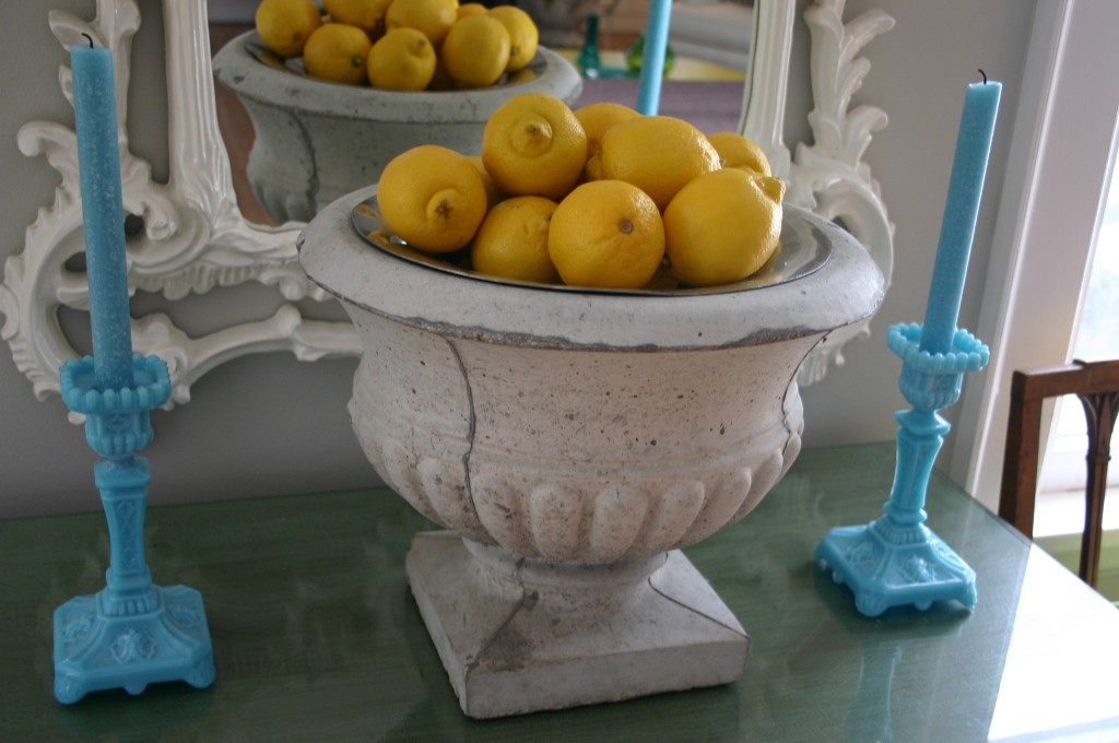 A bag of lemons - on sale for $2.99- fill and urn and make quite a statment.