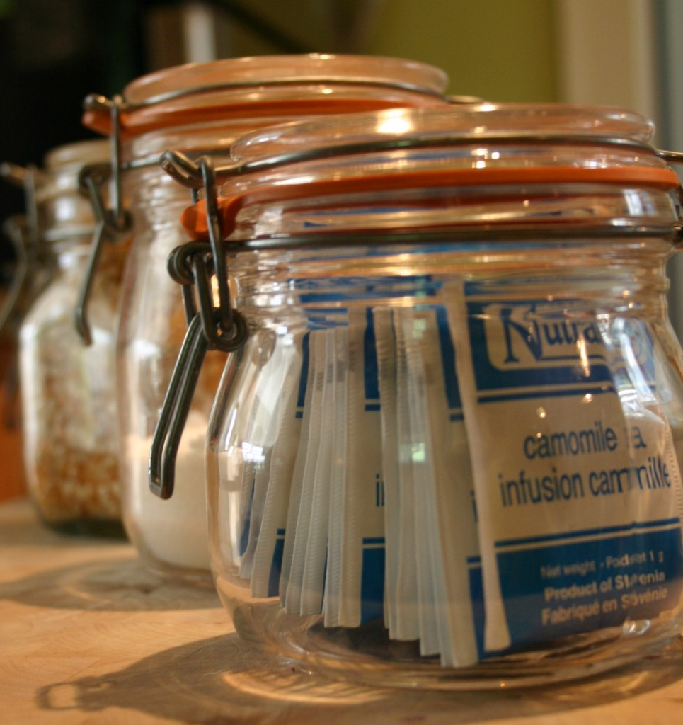 When tea bags, sugar and salt are stored in french jars - they look great and can stay out on the counter.