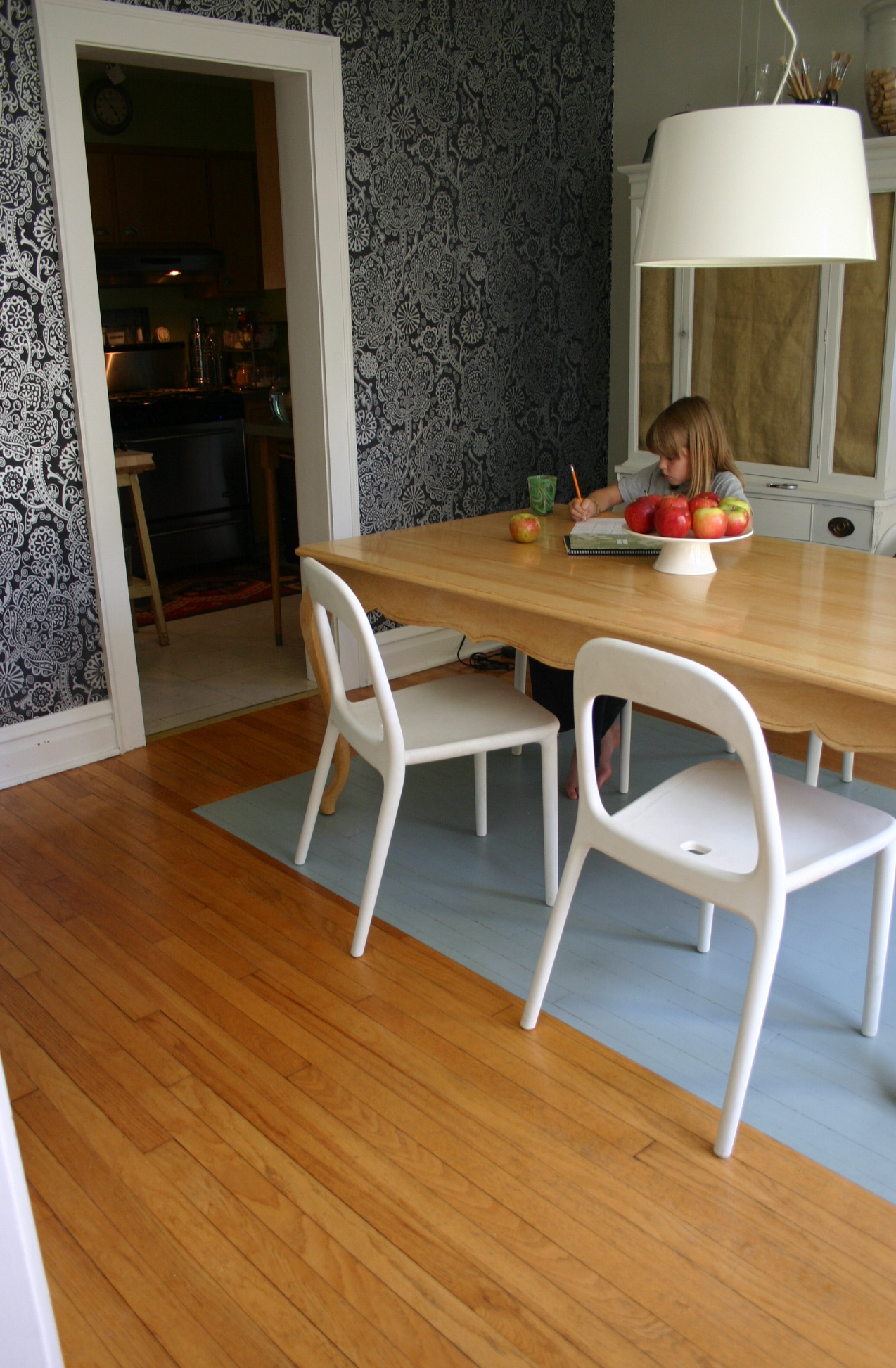 With children in the house a painted dining room floor is for Dining table rug