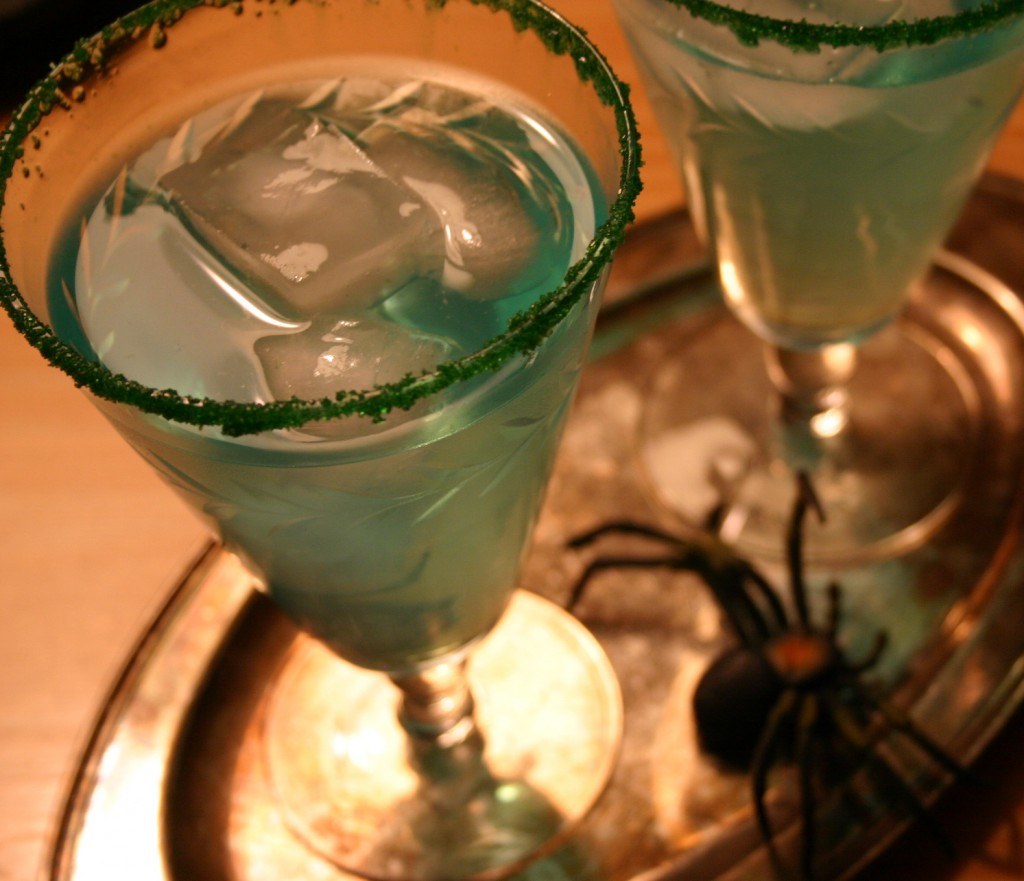 Blue Gatorade in stylish goblets that are sugared with green cake crystals are the absolute favorite in this house at Halloween.