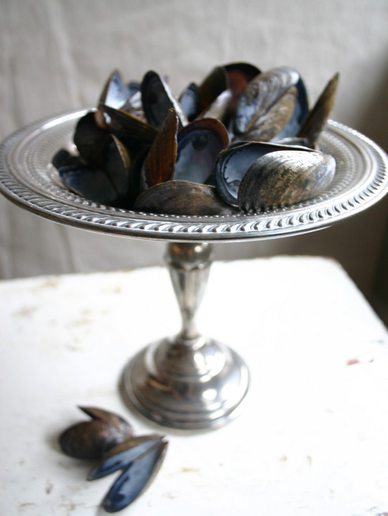 Mussel shells saved from a dinner with friends are on display in a silver compote.