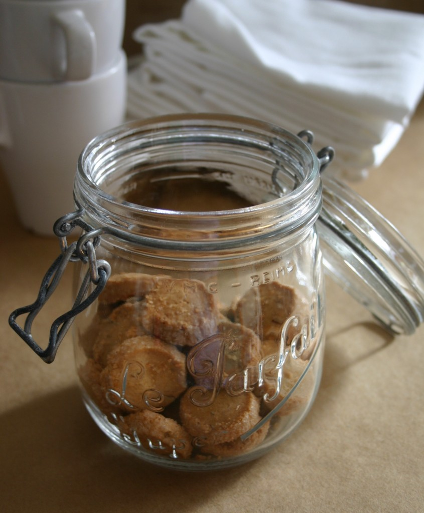 Storebought cookies look more interesting once placed in a simple jar.