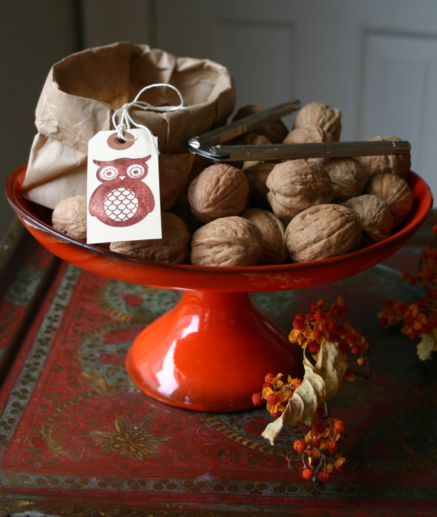 Walnuts in their shells make a great party snack -kids love to crack them open. Here I have placed them in a festive footed bowl with a paper bowl beside to hold the shells.