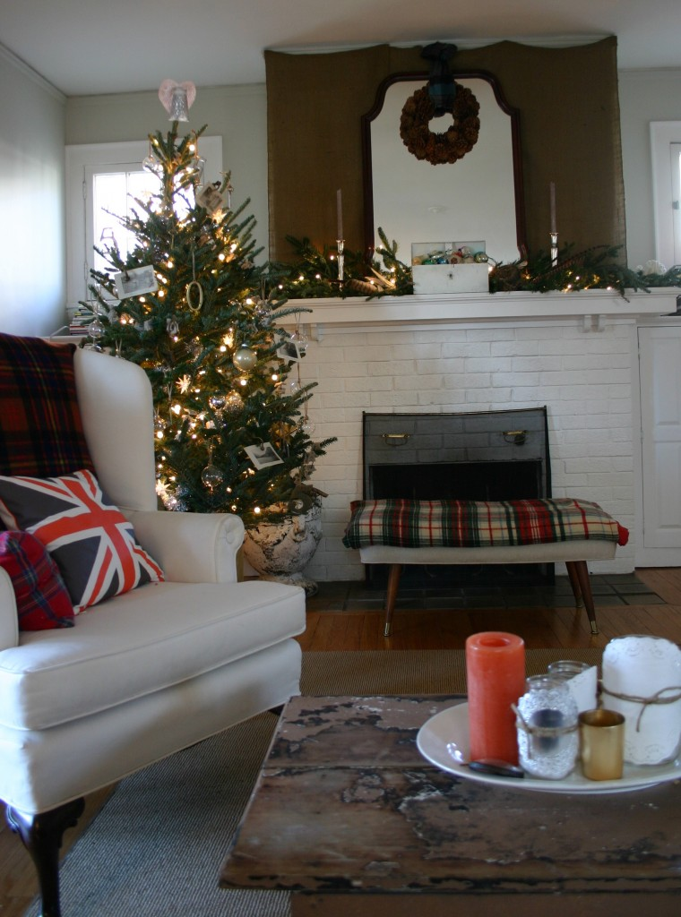 My living room. Inspired by Scottish style - I wanted to create a cozy, tartan-filled room this year.
