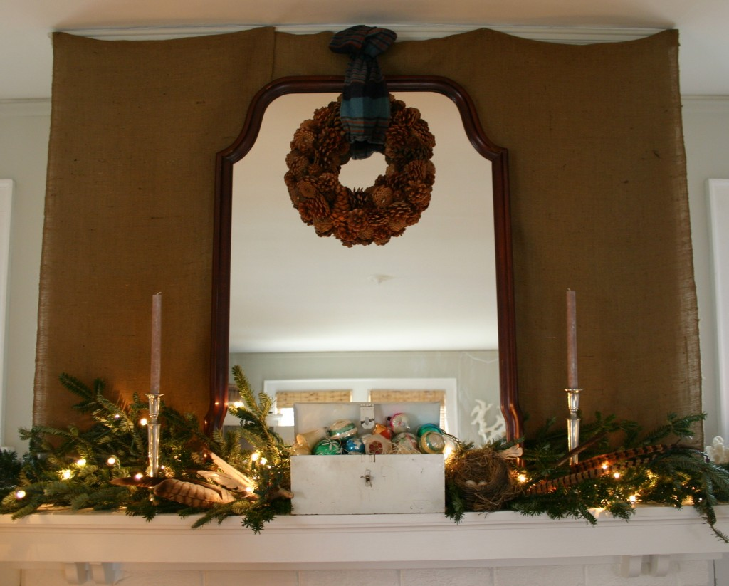 To add texture and interest - I draped the mantel wall with burlap.