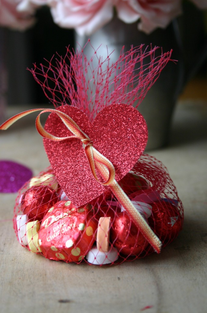 Valentine's Day treat bags, made from mesh grapefruit packages are simple and fun to make - the kids can help.