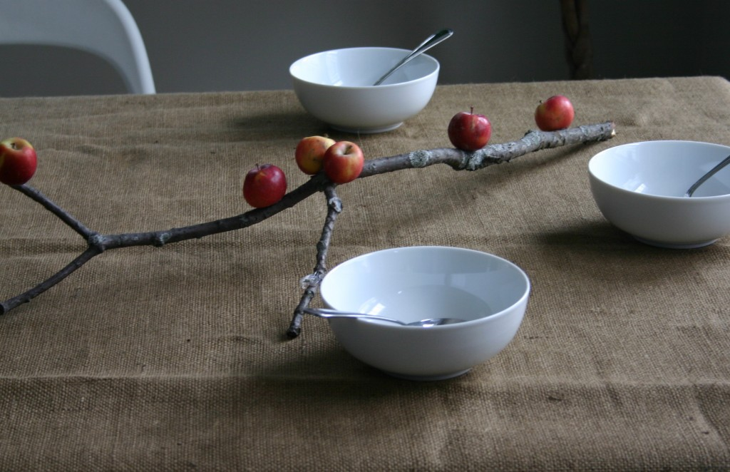 Small lady apples (available in some supermarkets) are hot glued to a branch to create an interesting horizontal centerpiece for the table.