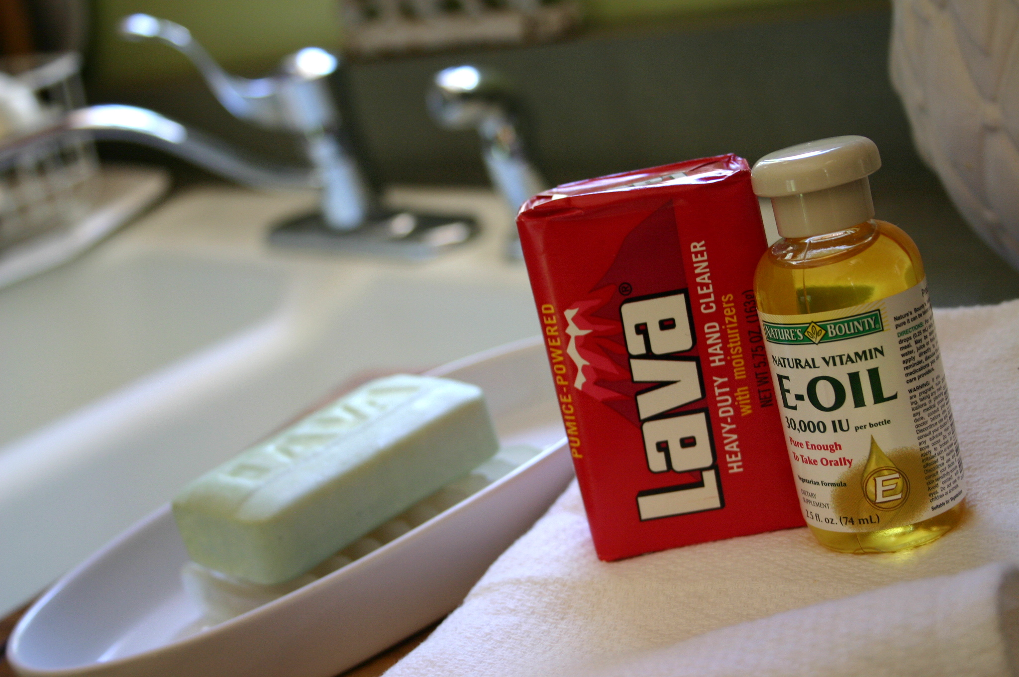 A quick fix for hardworking hands - Lava soap and vitamin e oil.