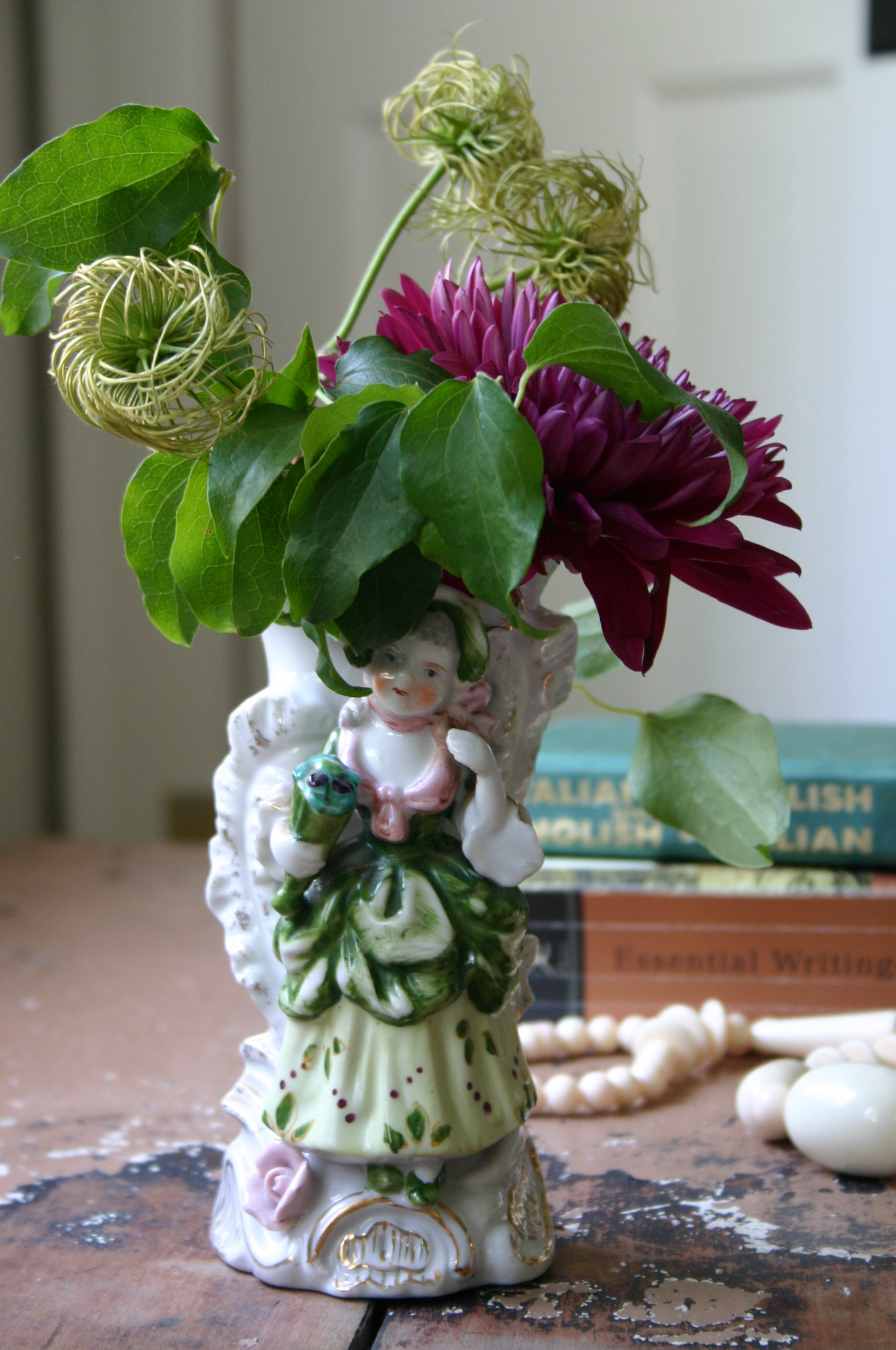When making this simple arrangement this morning, I included the seed head from a clematis vine I have growing in my front yard.