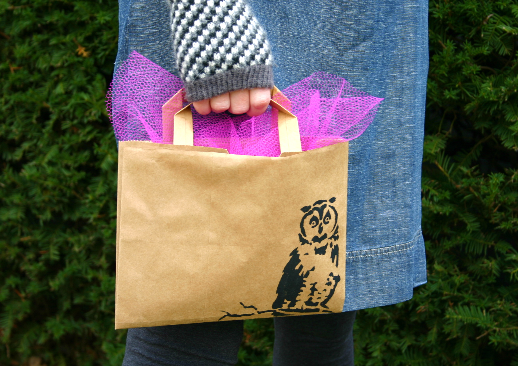 Make a quick gift bag out of a paper grocery bag.