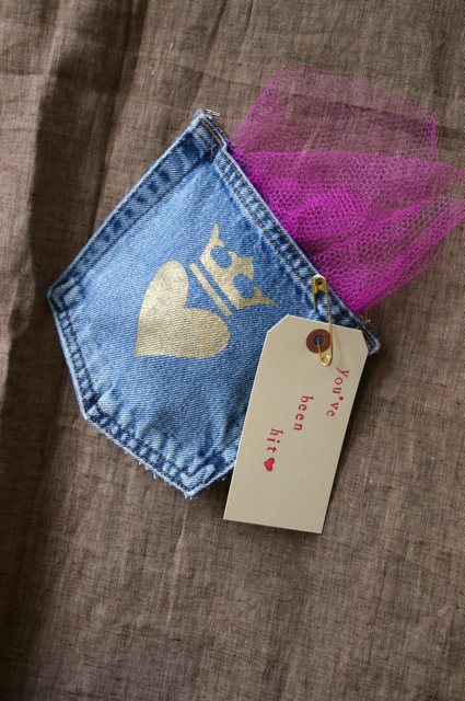 A denim pocket to hold your love.