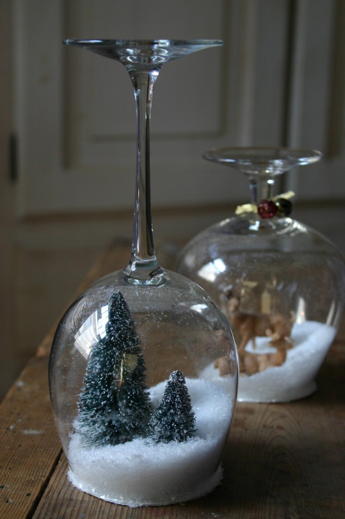 Ikea stemware turned into snow globes from Family Chic.