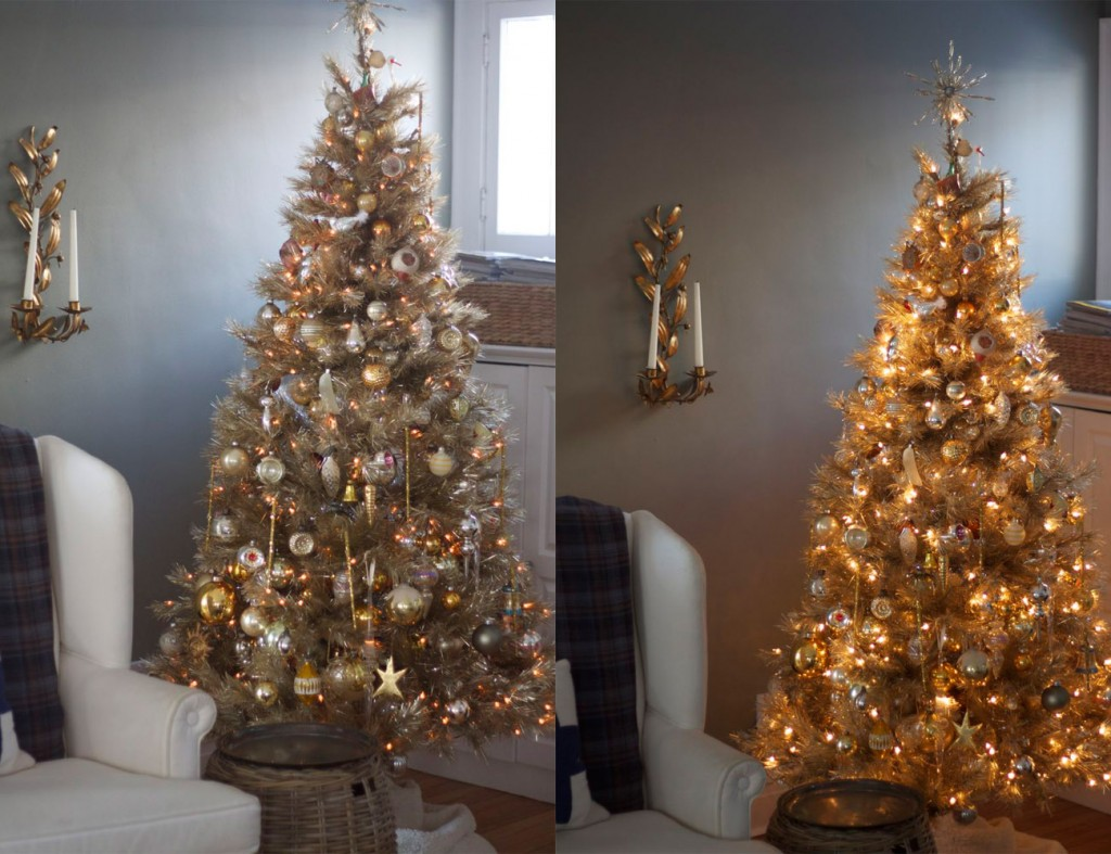to control the level of brightness of your tree lights try using a cord dimmer left dimmest right brightest
