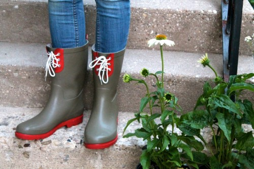 "My latest ""cheap thrill"" -- I walked in to get vitamins and walked out with these cool new gardening boots from Target's Threshold line on sale for $12.48 (click on image for details). I love the mid-calf height, the colors and the laces - these will work well with skinny jeans, shorts or even a skirt."