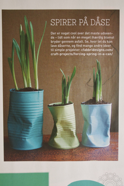 Happy to have my Crushed Can Planters featured in the creative Danish magazine,  Hendes Verden.