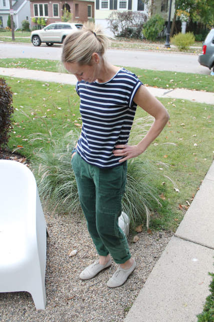 I LOVE my patchwork cargo pants from JCrew. They have a cool patchwork thing going on - they feel like sweatpants.