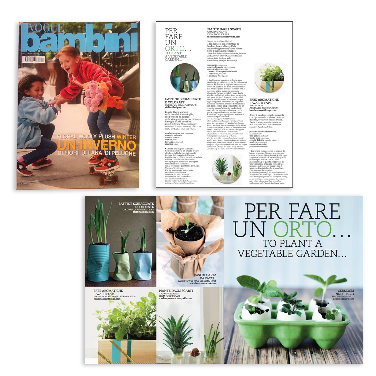 crushed can planter craft featured in Italian Vogue Bambini